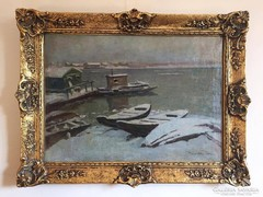 Kárpáthy Jenő - Csónakok a vízparton