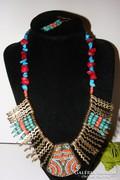 Egyiptomi Korall és Türkinit nyakék, egyedi és gyönyörű-