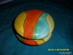 Antik hollóházi  színes mázas bonbonier