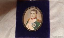 Napóleon szignózott Gouache miniatúra