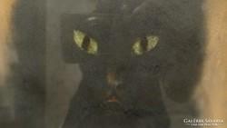 Fekete macska pasztell kép