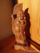 Legyezős Buddha szobor fa faragás