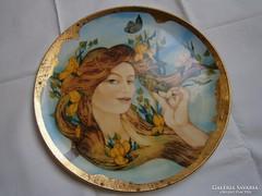 Hollóházi porcelán, kézzel festett fali tányér,
