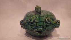 Sz. E. jelzett iparművész kerámia gömbhal szobor nagyon édes