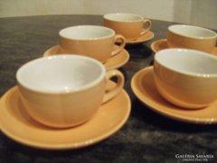 Okkersárga kerámia 6személyes kávés készlet hibátlan