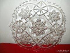 Régi csiszolt üveg kínáló tál 29x3 cm.