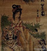 Kínai szépség tigris tekercskép vad hölgy idomár nő vadász