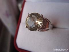 Hatalmas zöld ametiszt köves ezüst gyűrű