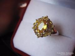 Aranyszínű sárga zafír antik ezüst gyűrű 925