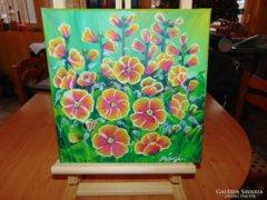 Virágözön 30x30-as vászon-akril