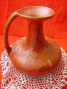 Retró,art deco design,piros kerámia váza
