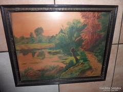 Őszi táj, régi akvarell, Sz.V. jelz. Szabó Vladimir?