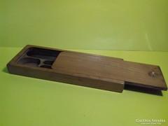 Antik régi fa tolltartó