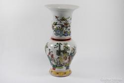 42 cm virágos kínai váza, 19. század