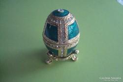 Fabergé tojás, nyitható, mellékelve az eredeti leírása