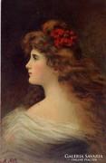 A. Asti: Lady, antik postatiszta képeslap.