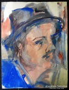 Angyalföldi Szabó Zoltán (1929-2014):Kalapos férfi portré