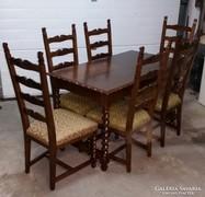 Eladó felújított Koloniál étkezőasztal 6 db székkel