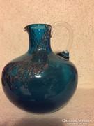 Kék, fémmel szórt művészi üvegkancsó váza (5)