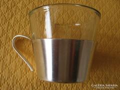 WMF alpakka, ezüstözött tartóban vastag pohár