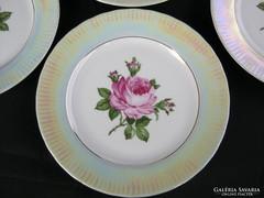 Német GDR Ilmenau porcelán süteményes tányér készlet