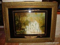 Antik nagy képkeret , falc 75x100 cm