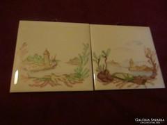 2 db kézzel festett kerámia falikép 10,7 cm  170122