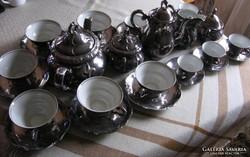Antik Dekor Bavaria Feinsilber teás és kávés készlet,33 dbos