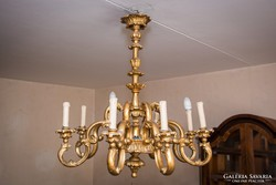 Aranyozott fa csillár 8 ágú