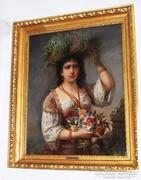 Böhm Pál (1839-1905) Női portré virácsokorral, Eredeti! 1887