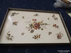 Antik fajansz betétes szép tálca 38,5 x 25,2 cm