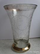 Antik bieder váza vésett, savmart indamintával, aranyozással