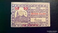 Pécs 50 fillér II.kiadás 1919.