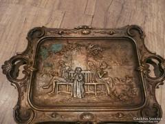 Nagyon régi antik nehéz bronz tálca / kínáló eladó