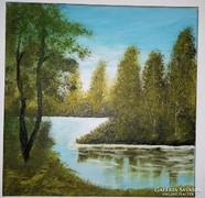 Vízparton olaj-vászon festmény