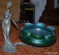 Ón Női figurás Szecessziós Eozinmázas üvegkínáló - Francia