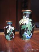 Régi rekeszzománc vázák, gyönyörű dekorral (2 db)