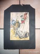 Vicces életkép bikával és fiúkkal, régi akvarell