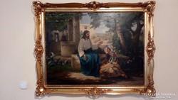 Jézus a kútnál! Nagyméretű festmény gyönyörű keretben.