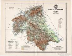 Zágráb vármegye térkép 1897, antik, eredeti