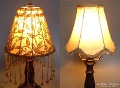 Régi lámpa eredeti ernyője + egyedi gyöngyös ernyő búra