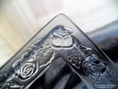 Kék rózsás, üveg vajtartó