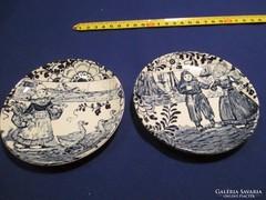 2 db Angol kék mintás fali tányér falidísz  A048