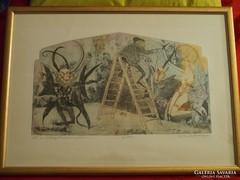 Kondor Lajos rézkarc: Aki az ördögöt a falra festi...