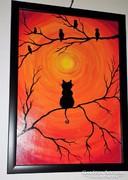 Cica faágon madarakkal, farostra festett akril kép, keretben