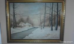 Berzavay J szignóval : Téli patakpart festmény