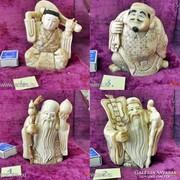 4 db. Dedikált eredeti ANTIK Elefántcsont szobor, olcsón!