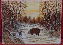 Tüttő M / Vadkan az erdőben - Szép színekkel megfestett kép