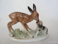 Unterweissbach porcelán őz őzike kutyával