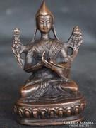 Kínai régi bronz faragott Congkapa Buddha szobor